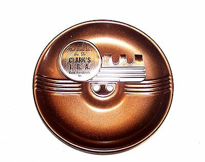 50's Clarks IGA Food Store Grocery Metal Ashtray Randolph VT Advertising MkOffr