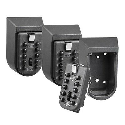 Wall Mounted Combination Key Lock Box Safe Security Storage Case Home Pack of 3