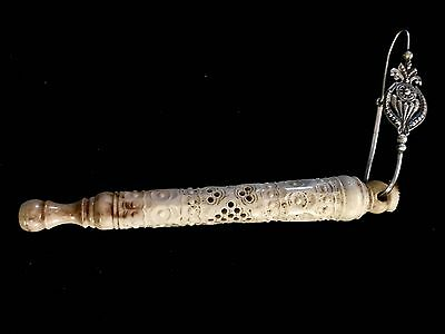 Victorian Georgian Chinese Carved Bone Needle Holder On A Sterling Silver Hook