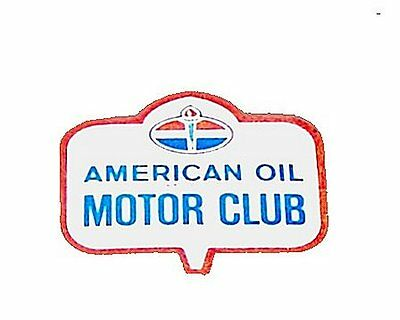 60's American Oil Motor Club Window Decal Standard BP Amoco Shell Sign Map MkOfr