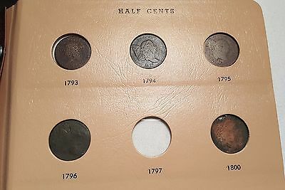Old Vintage Half Cent Collection With 1793, 1796 & Better Dates #1015