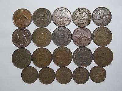 Australia 1/2 Penny Large Copper Mixed Date Type Old World Coin Collection Lot