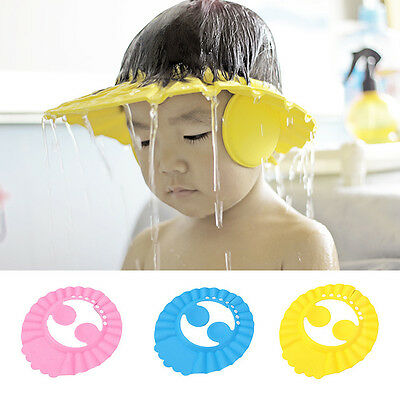 Adjustable Shampoo Shower Bathing Protect Ear Wash Hair Cap Hat for Baby Kids 1X