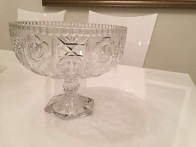 Vintage Hand Cut Lead Crystal Glass Compote /Fruit Bowl Large