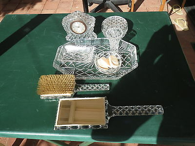 Vintage art deco heavy cut crystal vanity items,