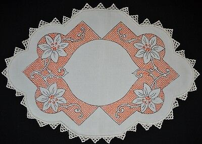 Vintage Doily - Hand Embroidered Linen - Crochet Edges - Orange & Black Flowers