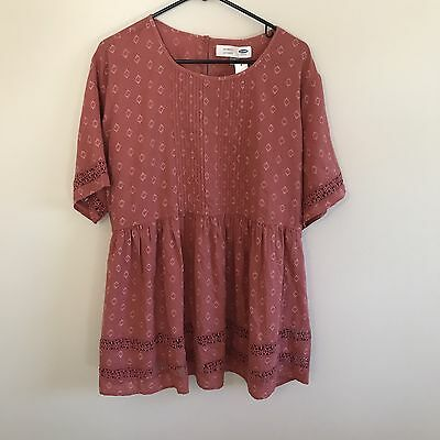 NWT Old Navy Red Pink Boho Lace Cotton Maternity Blouse Shirt Top, Sz XL