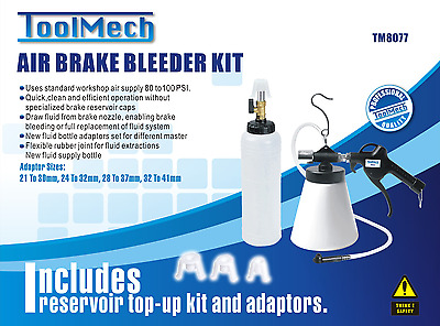 Air Brake Bleeder Kit Pneumatic Clutch Vacuum Hydraulic Fill Free Postage