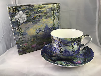 Brand New Fine Bone China Breakfast Cup And Saucer Gift Boxed Water Lillies