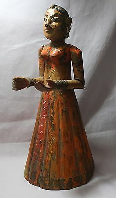 Indian Old Vintage Hand Made Unique Wooden & Water Color Painted Lady Statue