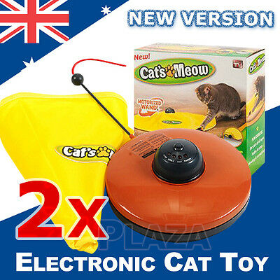 2X Electronic Interactive Cat Toys Cat's Meow Undercover Fabric Moving Mouse Fun