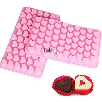 55 Silicone Small Hearts Mould Chocolate Cake Sweet Cookie Ice Cube Baking LEY