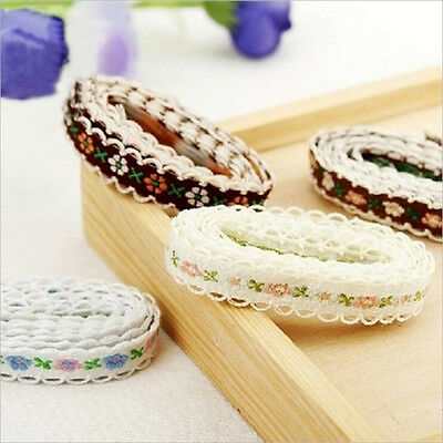 1 Yard Embroidered Floral Lace Edge Trim Ribbon Wedding Bridal Sewing Craft DIY