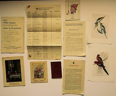 Mixed Lot of Vintage Ephemera (Casualties Union, Book Plates, Gloucester, Cards)