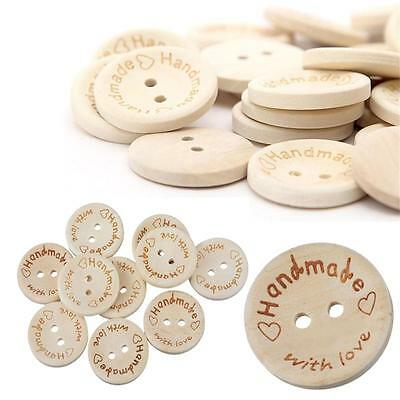 100X Handmade With Love Buttons Scrapbooking Sewing Wood Button 15mm 20mm 25mm