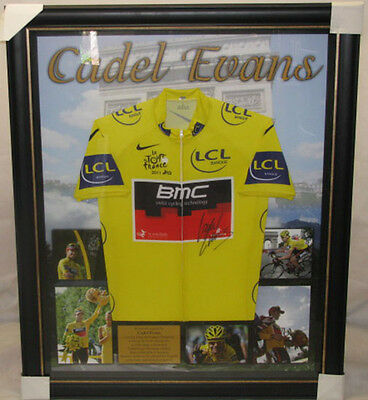 CADEL EVANS Hand Signed & Framed Jersey + Photo Proof  *BUY GENUINE*