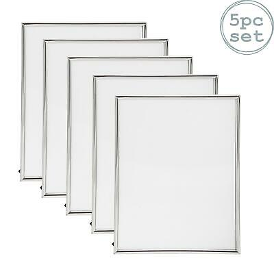 Nicola Spring Silver Metal 6x8 Photo Picture Frame - Standing - Pack Of 5