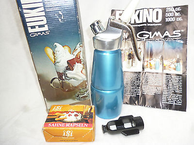 RETRO ANODISED BLUE CREAM WHIPPER MACHINE with 8 bulbs - looks new- Eukino Italy