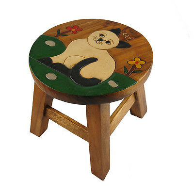 Childs/Childrens/Kids Wooden Stool - White Cat