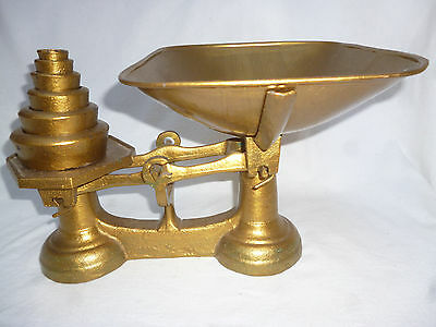 ANTIQUE CAST IRON KITCHEN SCALES complete with SET of WEIGHTS very good cond.