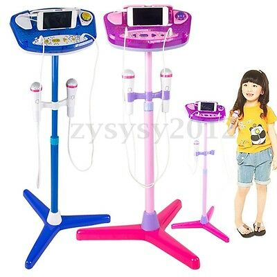 Kids New Karaoke Machine With 2 Microphones Adjustable Stand Music Play Toys Set