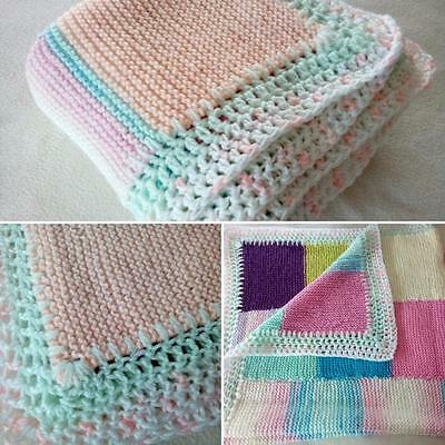 "New Large Hand Knitted Baby Girls Blanket 40"" Square Gorgeous Pram Crib Cot New"