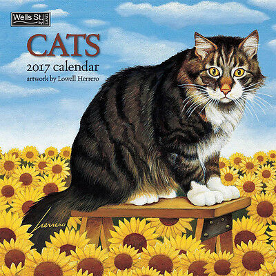 """Cats 2017 Wall Calendar by Lang; Lowell Herrero Art (12"""" x 24"""" opened up)"""