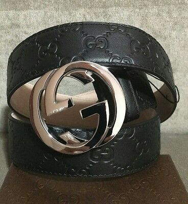 New With Tags  Black Gucci Guccissima Leather Belt  100cm  Waist 34-36