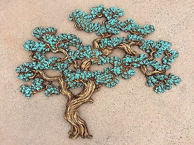 Vintage Mid Century Modern Wall Art Tree Bonsai Sculpture TURQUOISE Gold SUPERB