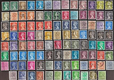 100 All Different  GREAT BRITAIN DECIMAL MACHIN  STAMPS