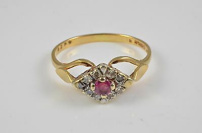 9ct ruby and diamond cluster ring white gold setting k 1/2 1.5 g