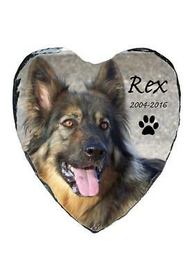 Pet Dog Photo Memorial Heart Slate Personalised Plaque Beautiful Quote