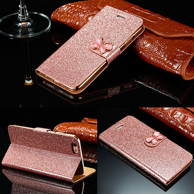 Luxury Bling Bowknot Flip Leather Wallet Card Stand Case Cover For iPhone 6 / 6s