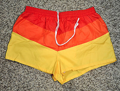 Vintage 1970's California by JCPenny Red, Orange, Yellow Short Swimming Trunks