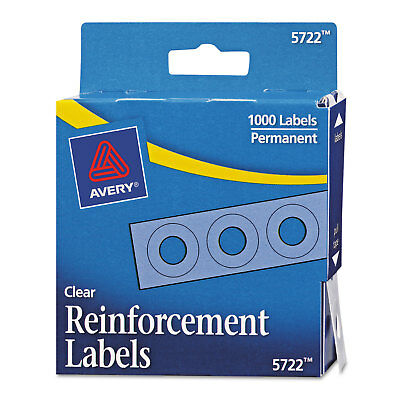 """Dispenser Pack Hole Reinforcements, 1/4"""" Dia, Clear, 1000/Pack"""