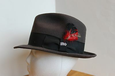 Bailey Of Hollywood Brown/gray Fedora Men's Hat With Feather