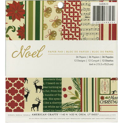 "American Crafts Single-Sided Paper Pad 6""X6"" 36/Pkg-Noel"