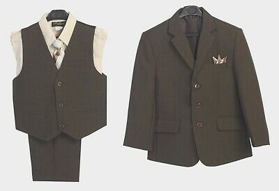 Boys Suit Brown Formal Toddler Kids Graduation Wedding Party Vest Suit 5 P c New