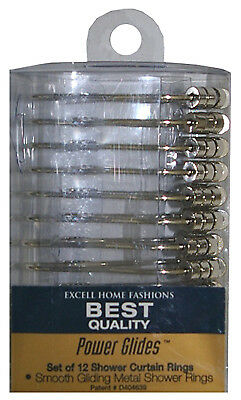 EX-CELL HOME FASHIONS Power Glide Shower Curtain Hooks, 12-Pack Silver