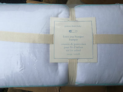 Pottery Barn Kids Lucy Butterfly Solid Linen Piped Pop Crib Bumper White Aqua
