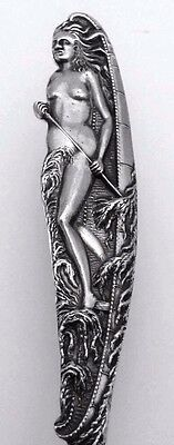 Figural Squaw Nude Woman with Canoe Souvenir Spoon by Watson Silversmiths