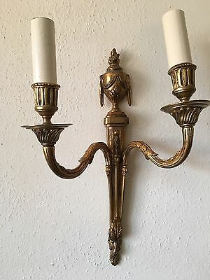 Antique Vintage French Empire Neoclassical Pair Bronze Brass Wall Sconces Wired