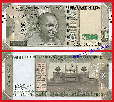 INDIA 500 Rupias rupees 2016 (2017) GHANDI Pick NEW  SC /  UNC