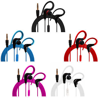 Ear Hook Earphones Earbuds Headphones Mic Music Control 5 Colors Lot 1/2/3/6/12