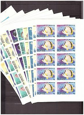 s16095) GUINEE GUINEA MNH** 1980 Fishes Pesci 12v Imperf. block of 10 (8 scans)
