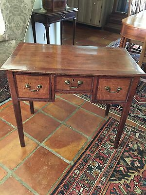 18th Century English Chippendale Three Drawer Oak Side Table.