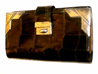 Superb Antique Faux Crocodile Skin Purse / wallet with Silver Corners 1902