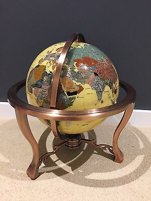 Large Semi precious gemstone stone world globe with compass on stand VGC