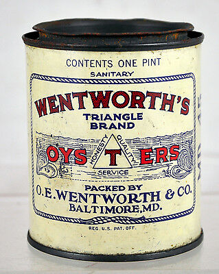 Rare Vintage Wentworth's Triangle Brand Oysters 1-Pint Tin Can with Top