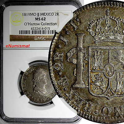 Mexico Ferdinand VII Silver 1819 MO JJ 2 Reales NGC MS62 Nice Toned KM# 93